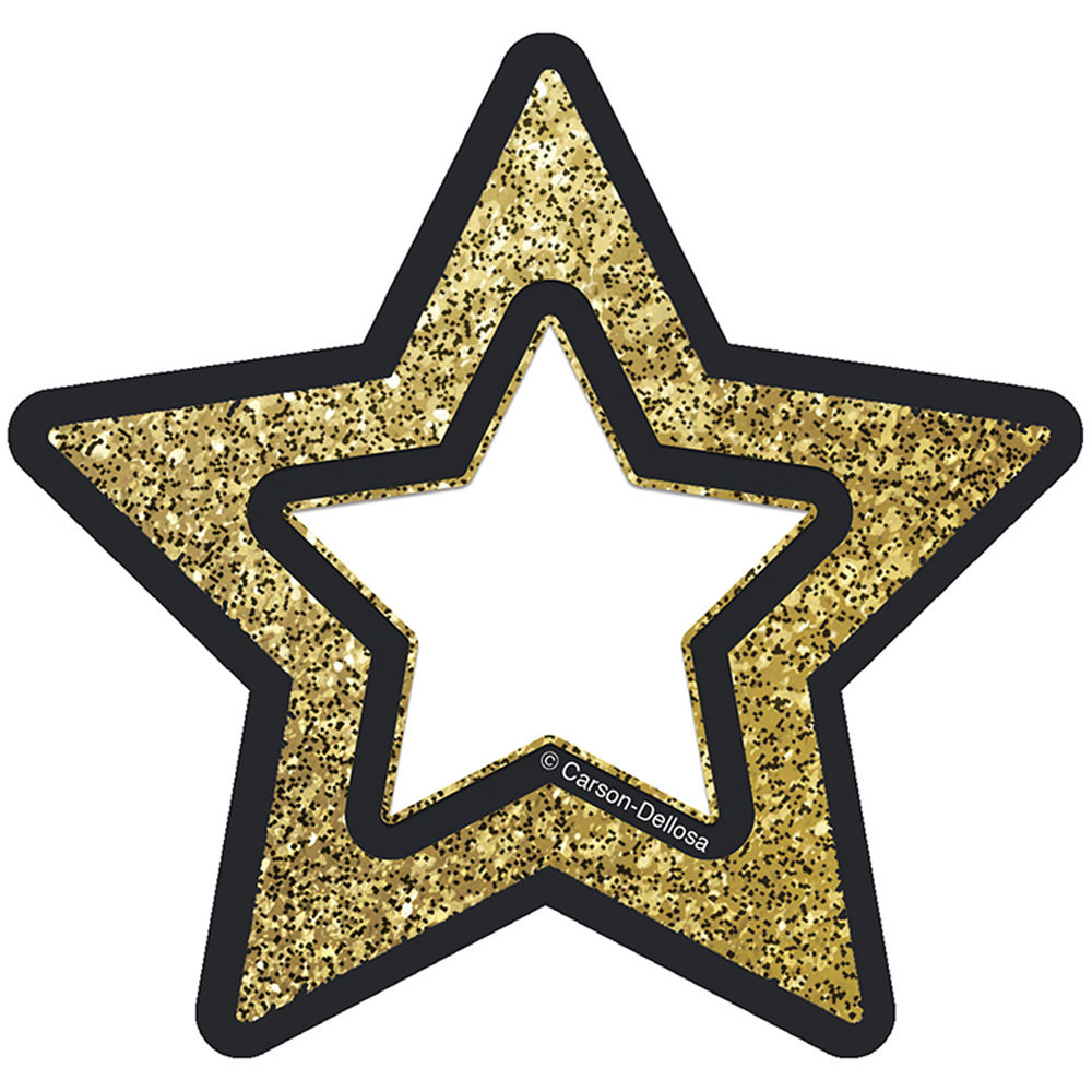 CD-120245 - Gold Glitter Stars Cut Outs Sparkle And Shine in Accents