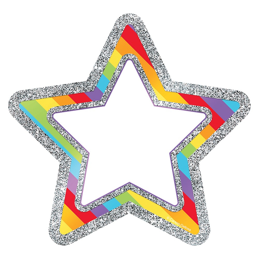 CD-120246 - Rainbow Glitter Stars Cut Outs Sparkle And Shine in Accents