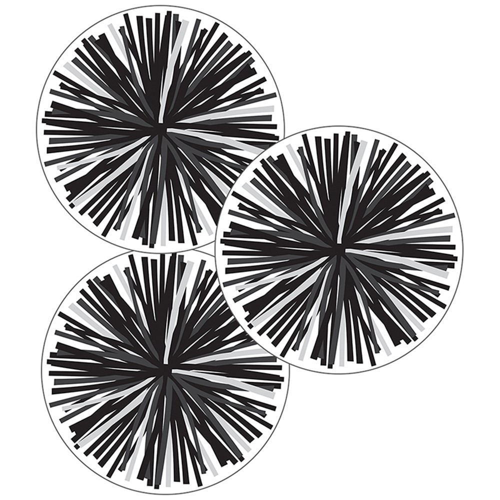 CD-120554 - Black & White Poms Cut-Outs Simply Stylish in Accents