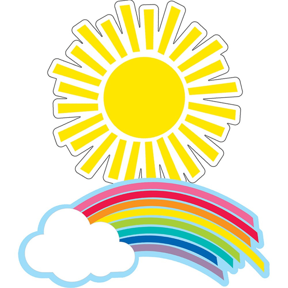 CD-120558 - Rainbows & Suns Cut-Outs Hello Sunshine in Accents