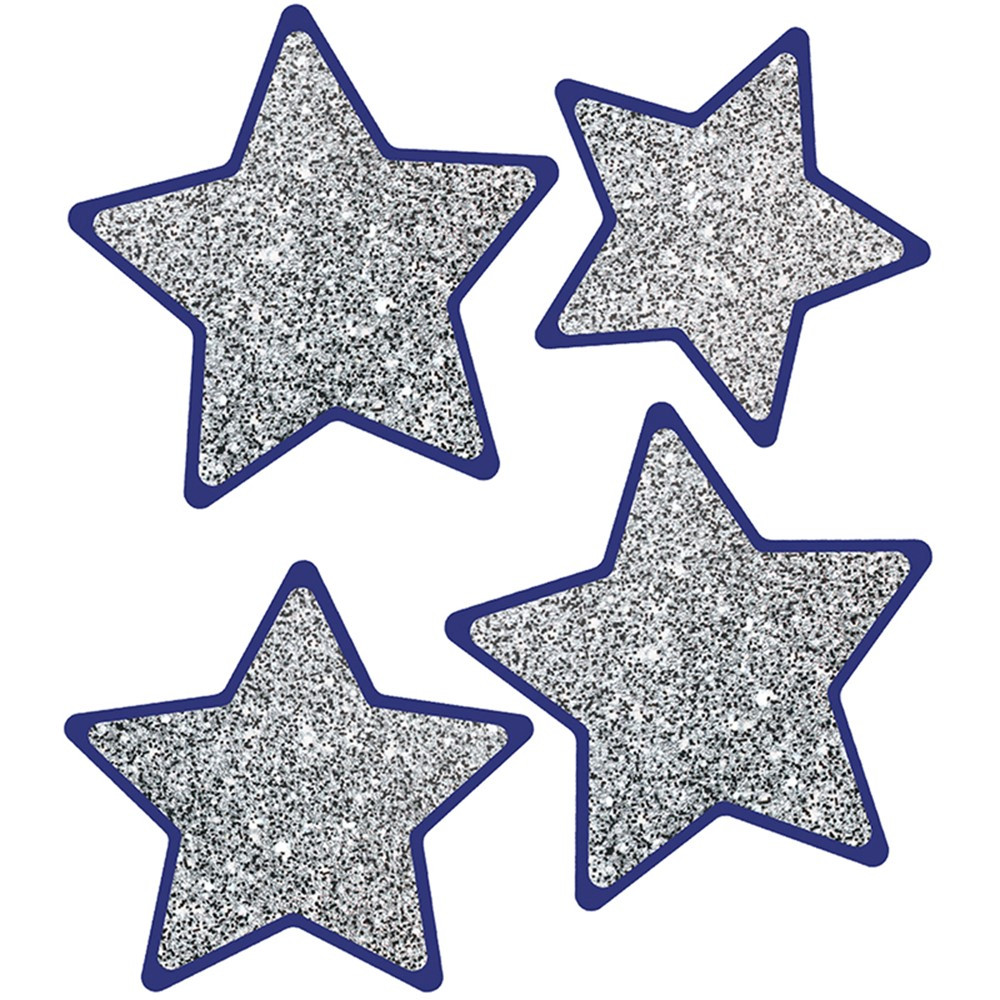CD-120570 - Solid Silver Glitter Stars Cut-Outs Sparkle And Shine in Accents