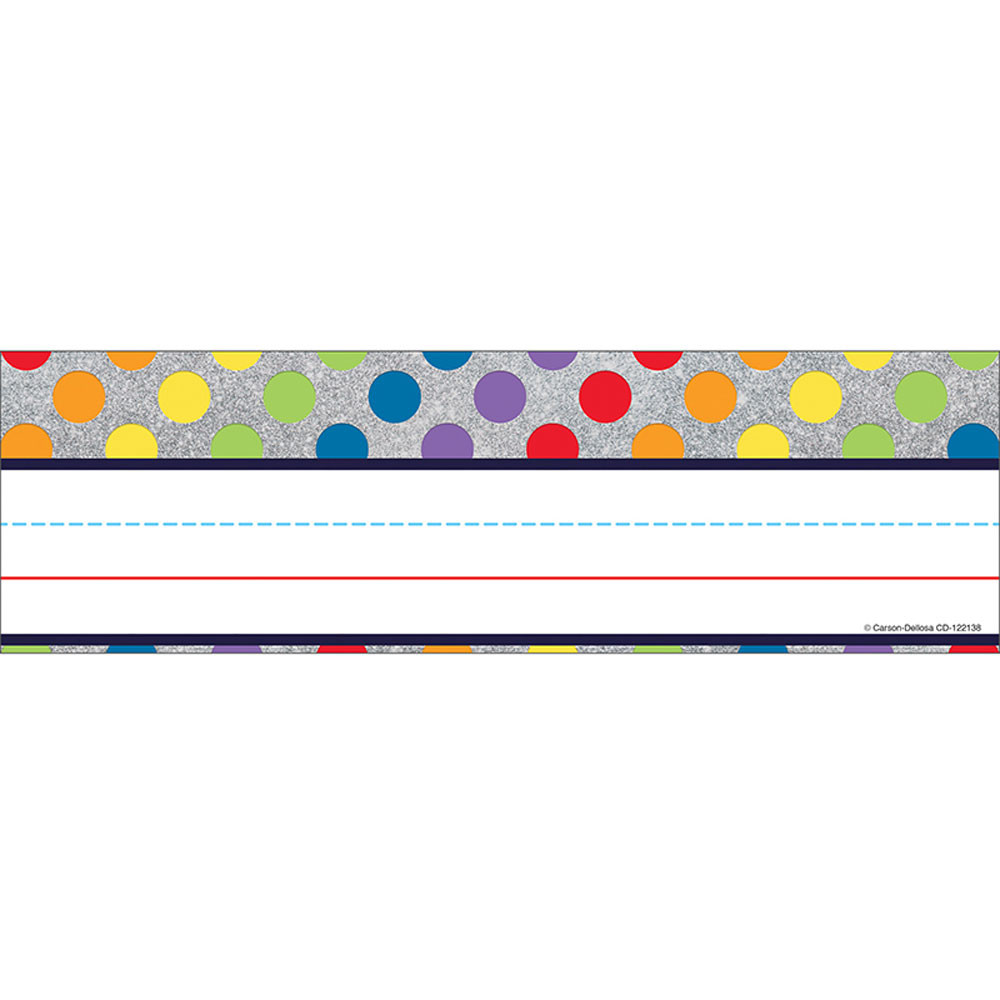 CD-122138 - Rainbow Dots On Glitter Nameplates Sparkle And Shine in Name Plates