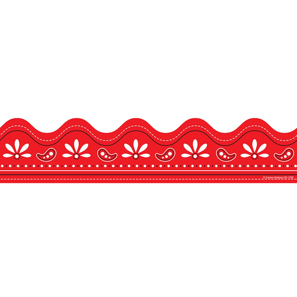 CD-1256 - Border Red Bandana 36 Straight in Border/trimmer