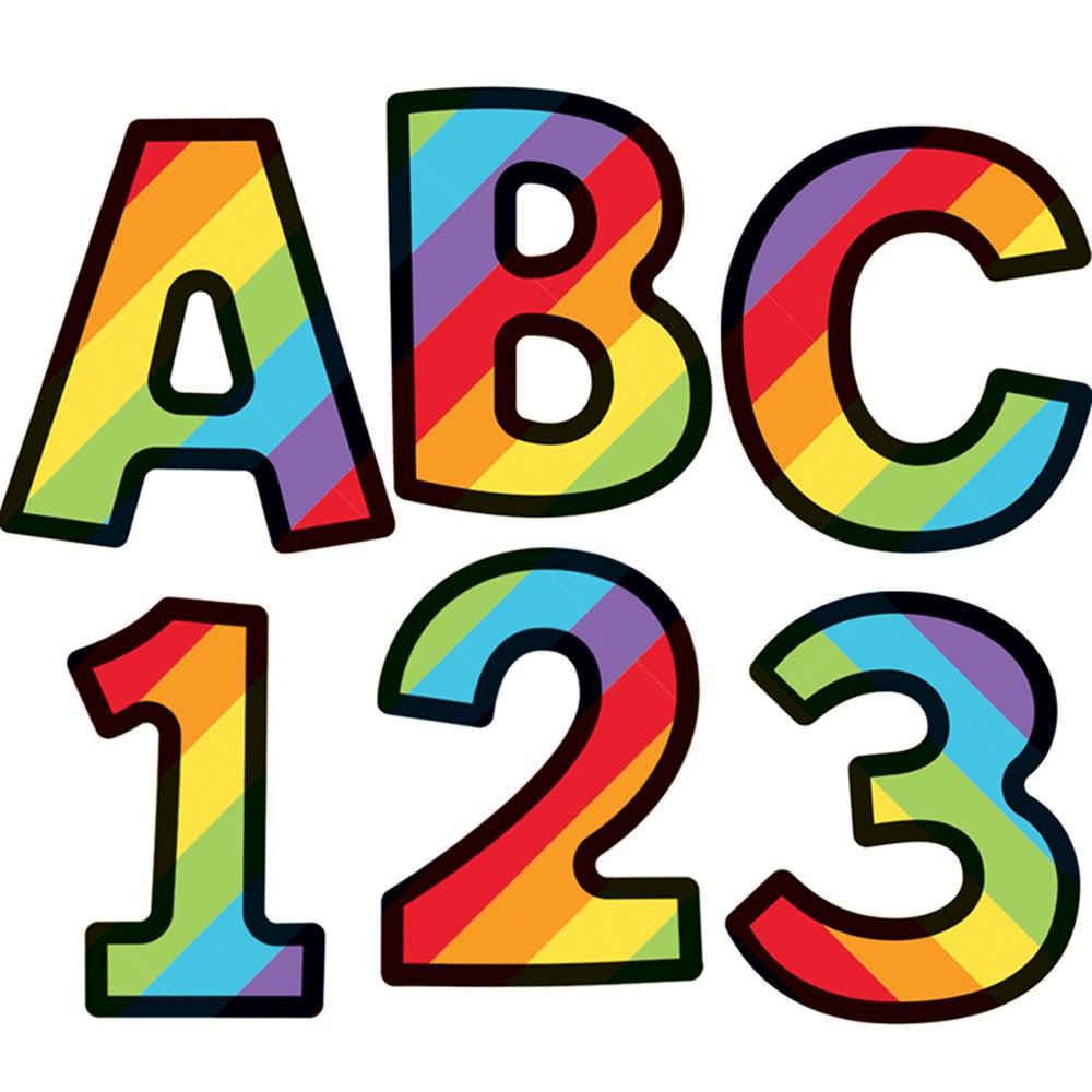 CD-130082 - Rainbox Stripe 4In Ez Letter Celebrate Learning in Letters
