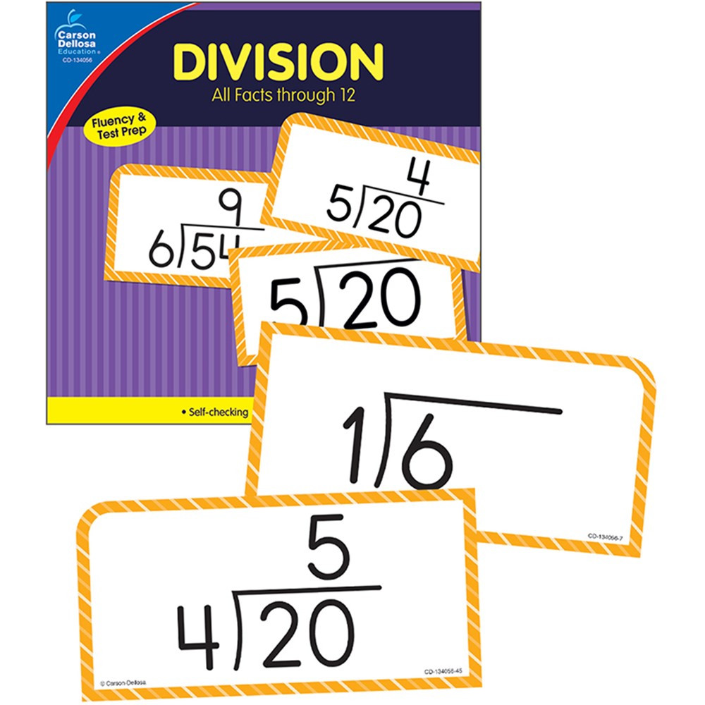 Division Facts Thru 12 Flash Cards
