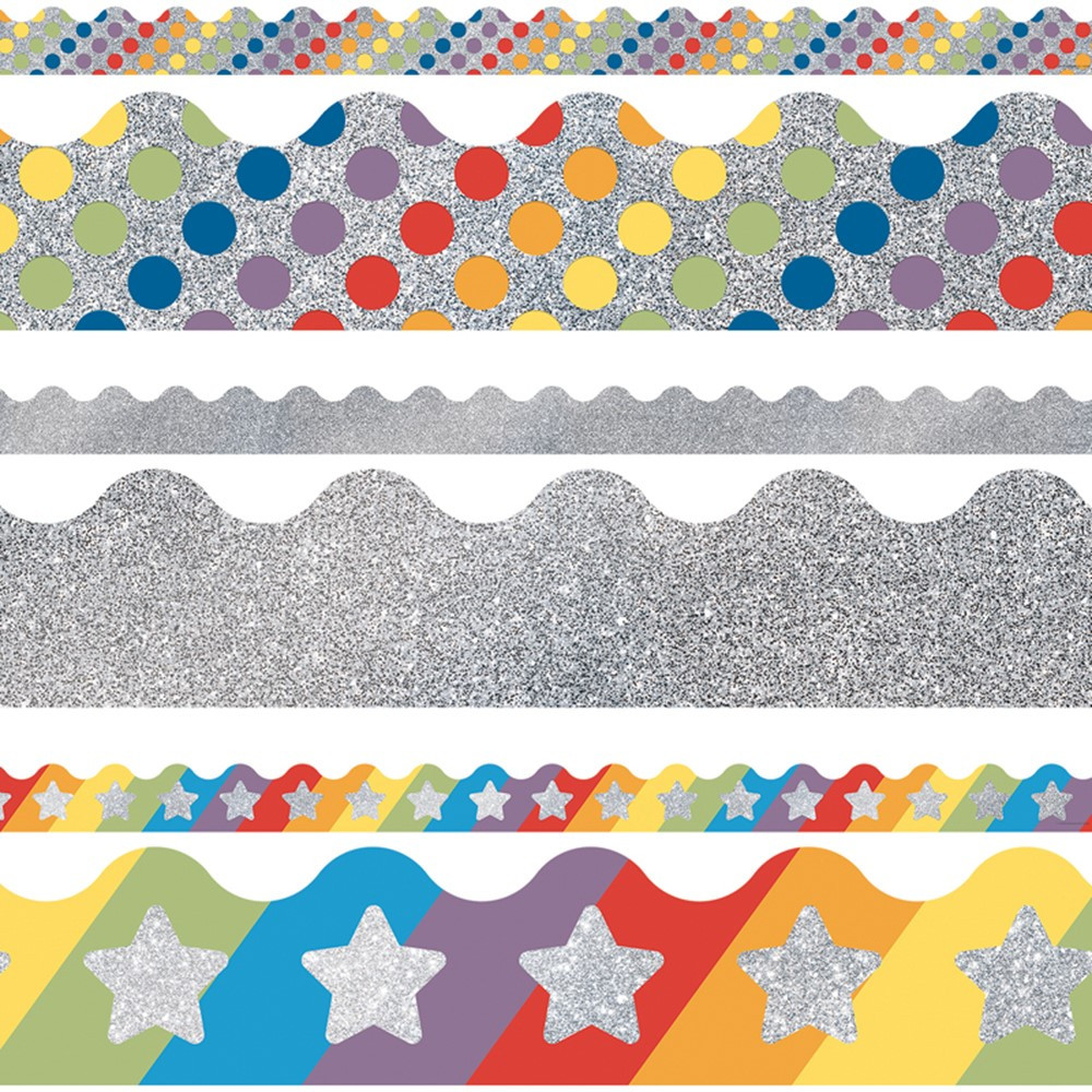 CD-145098 - Silver Scalloped Borders Set Silver Sparkle And Shine in Border/trimmer