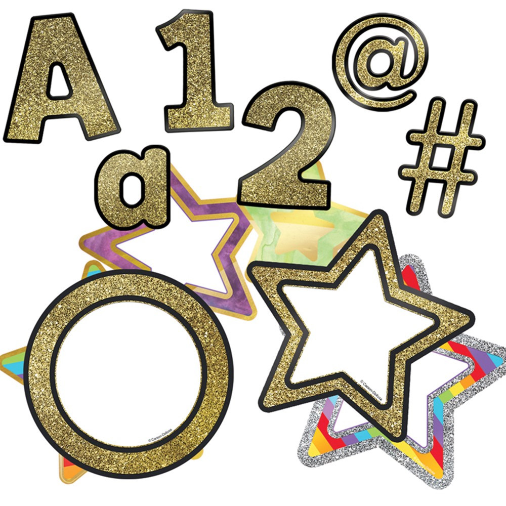 CD-145103 - Gold Ez Letters & Cutouts St Sparkle And Shine in Letters