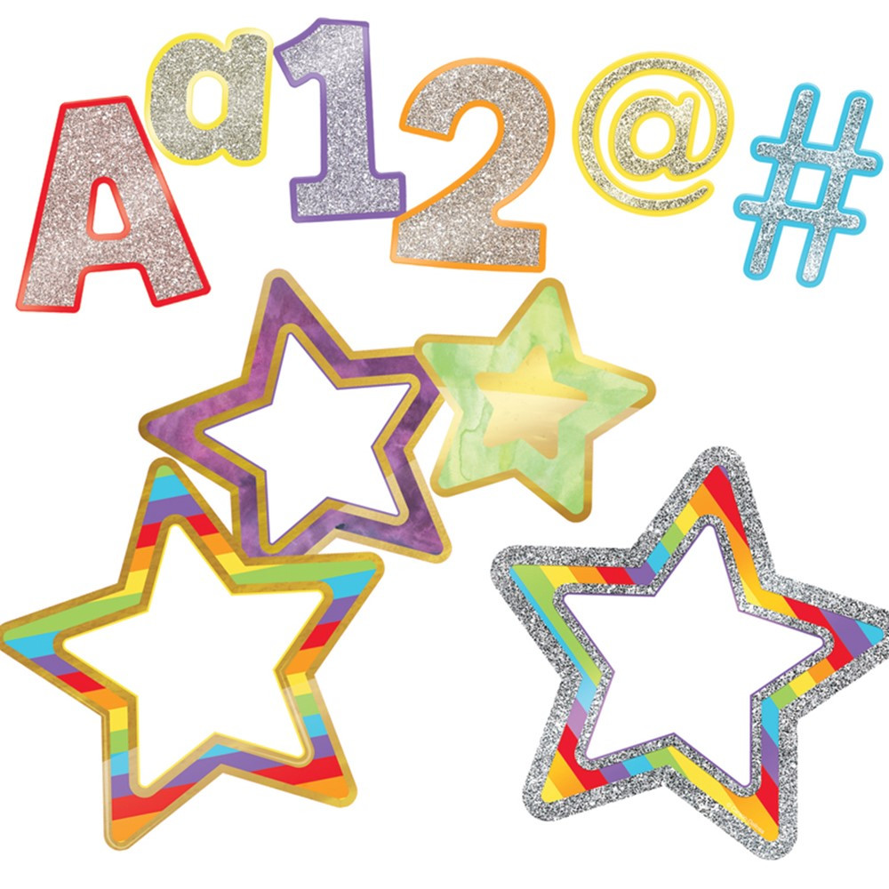 CD-145104 - Rainbow Ez Letters And Cut-Outs St Sparkle And Shine in Letters