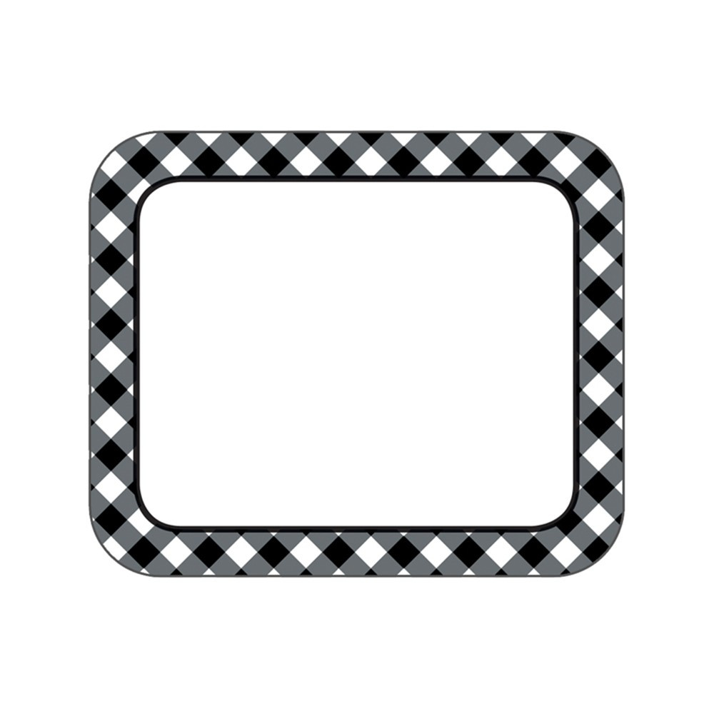 CD-150069 - Black & White Gingham Name Tags Woodland Whimsy in Name Tags