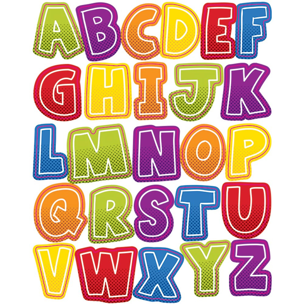 CD-168197 - Super Power Alphabet Uppercase Shape Stickers in Stickers