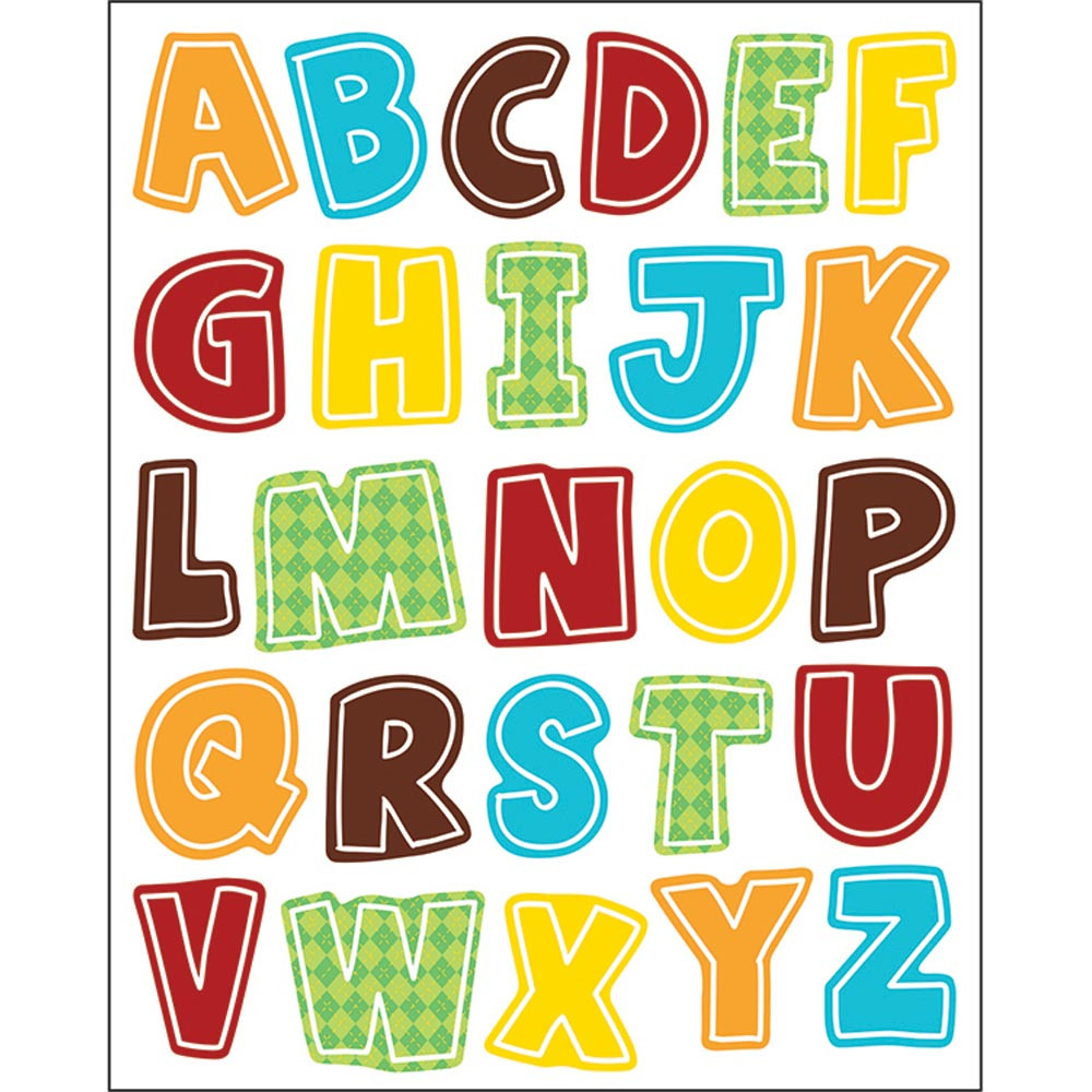 CD-168211 - Hipster Alphabet Uppercase Shape Stickers in Stickers