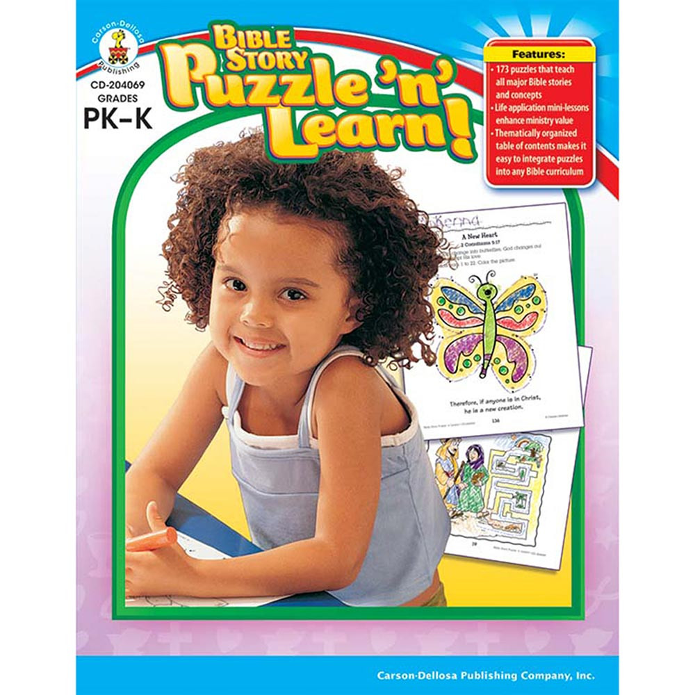 CD-204069 - Bible Story Puzzle N Learn Gr Pk-K in Inspirational