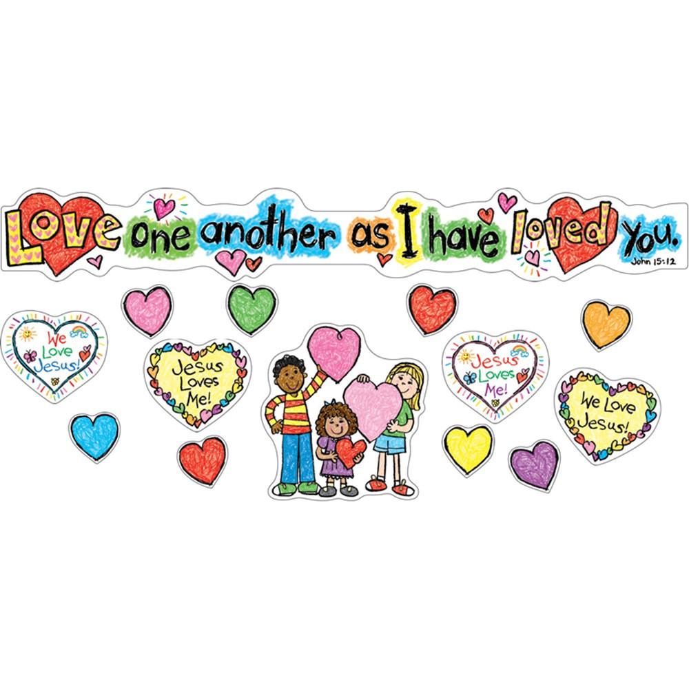 CD-210020 - Love One Another Mini Bulletin Board Set Gr Pk-3 in Inspirational