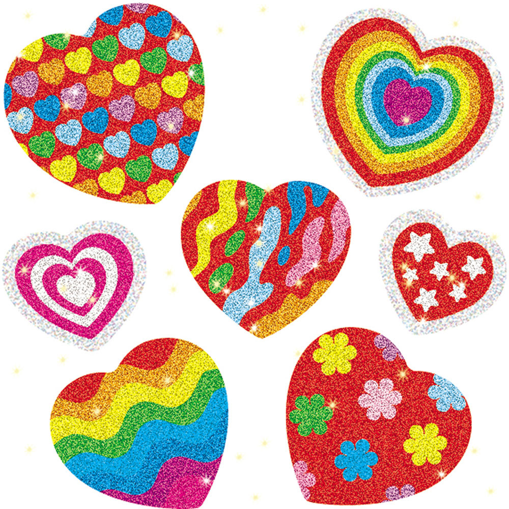 CD-2911 - Dazzle Stickers Hearts 105-Pk Acid Lignin Free in Stickers