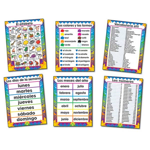 CD-3288 - Bulletin Board Set Spanish Chartlets 6/Pk 17 X 22 in Charts