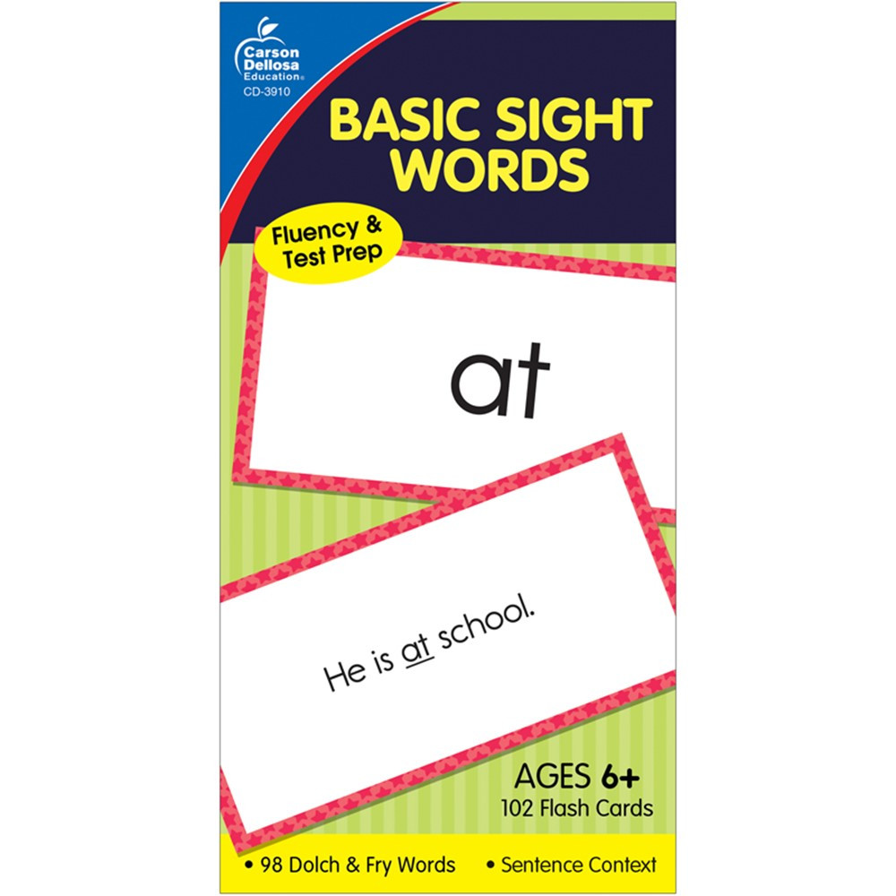 CD-3910 - Flash Cards Basic Sight Words 6 X 3 in Sight Words