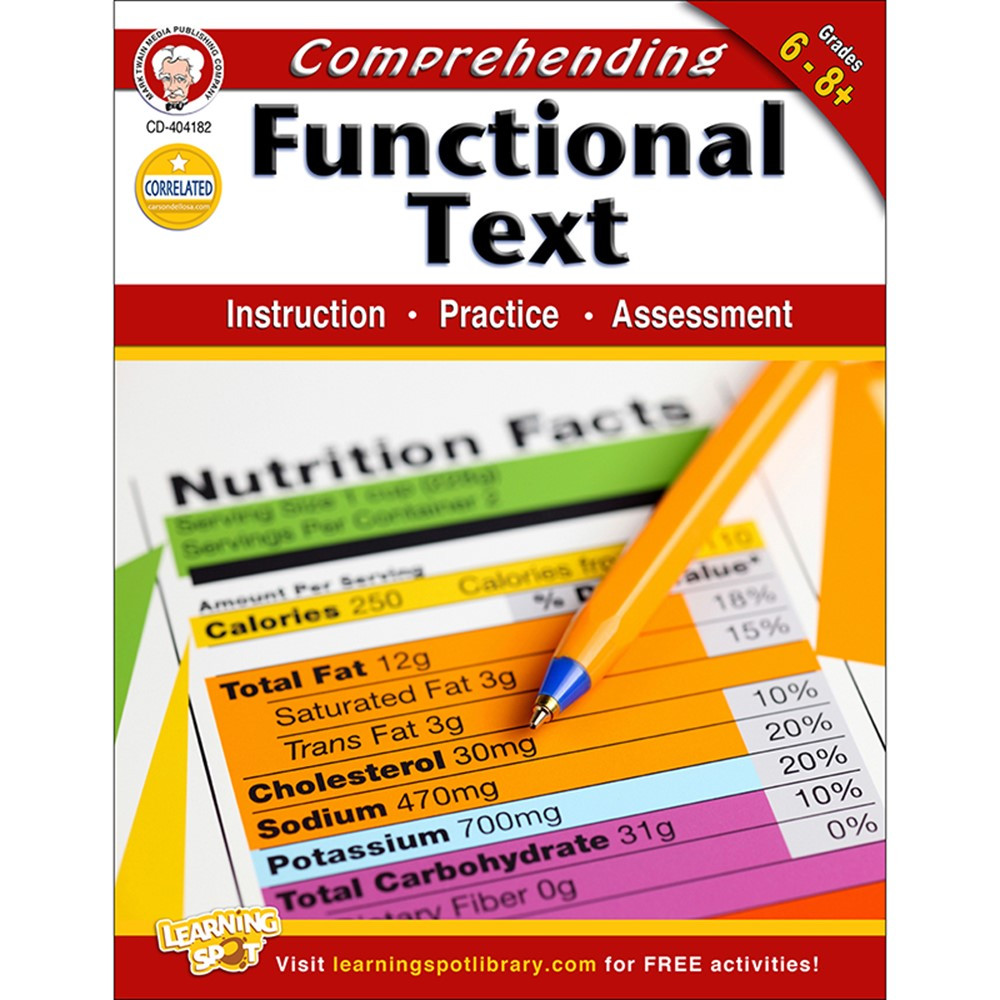 CD-404182 - Comprehending Functional Text Gr 6-8 in Comprehension