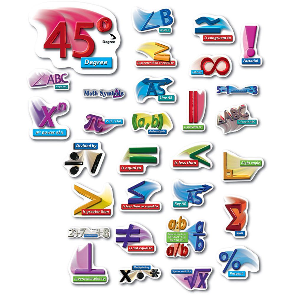 Math Symbols Punch Outs Bulletin Board Set Cd 410020 Carson