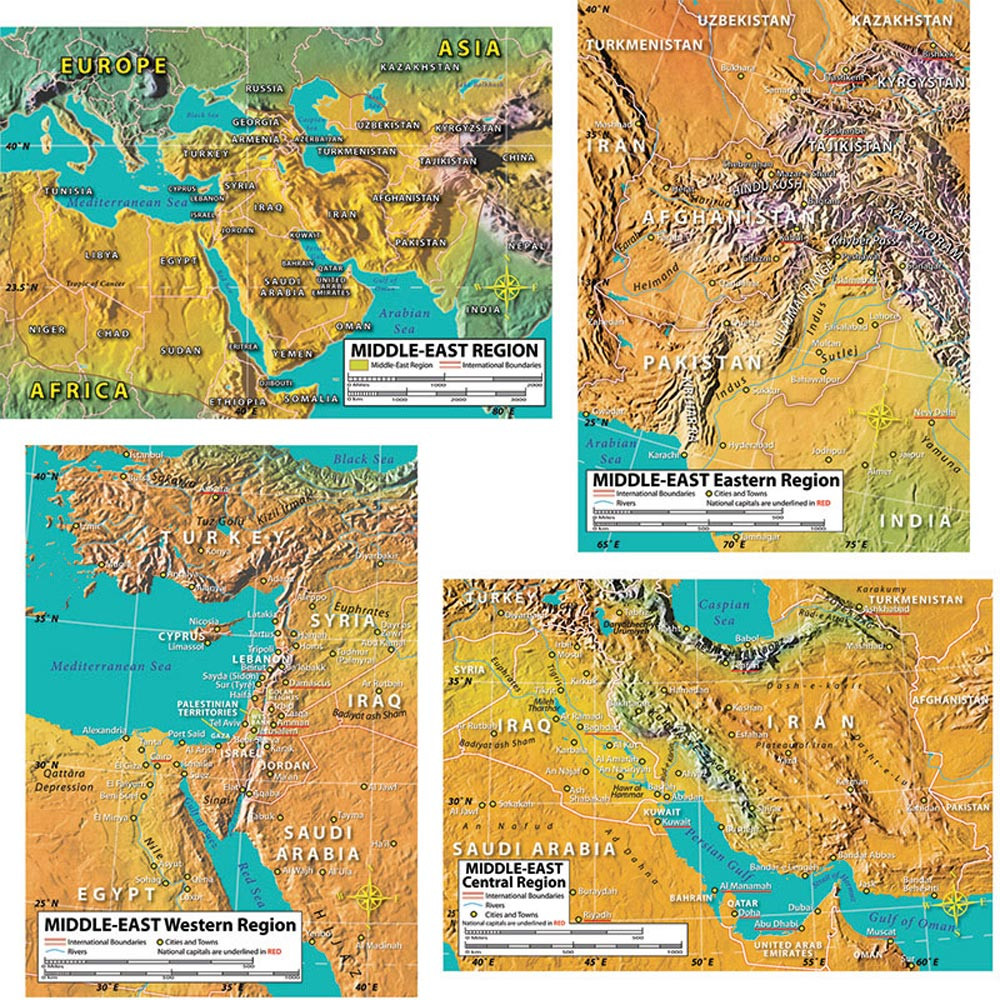 CD-410050 - World Geography Middle East Maps Bulletin Board Set in Social Studies