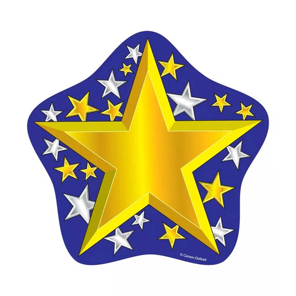 CD-5544 - Colorful Cut-Outs Gold/Silver 36/Pk Stars Single Design in Accents