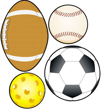 CD-5595 - Colorful Cut-Outs Sports 36/Pk Balls Assorted Designs in Accents