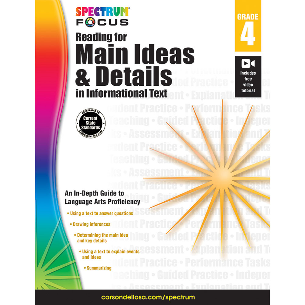 CD-704907 - Spectrum Reading For Main Ideas & Details In Informational Text Gr 4 in Comprehension