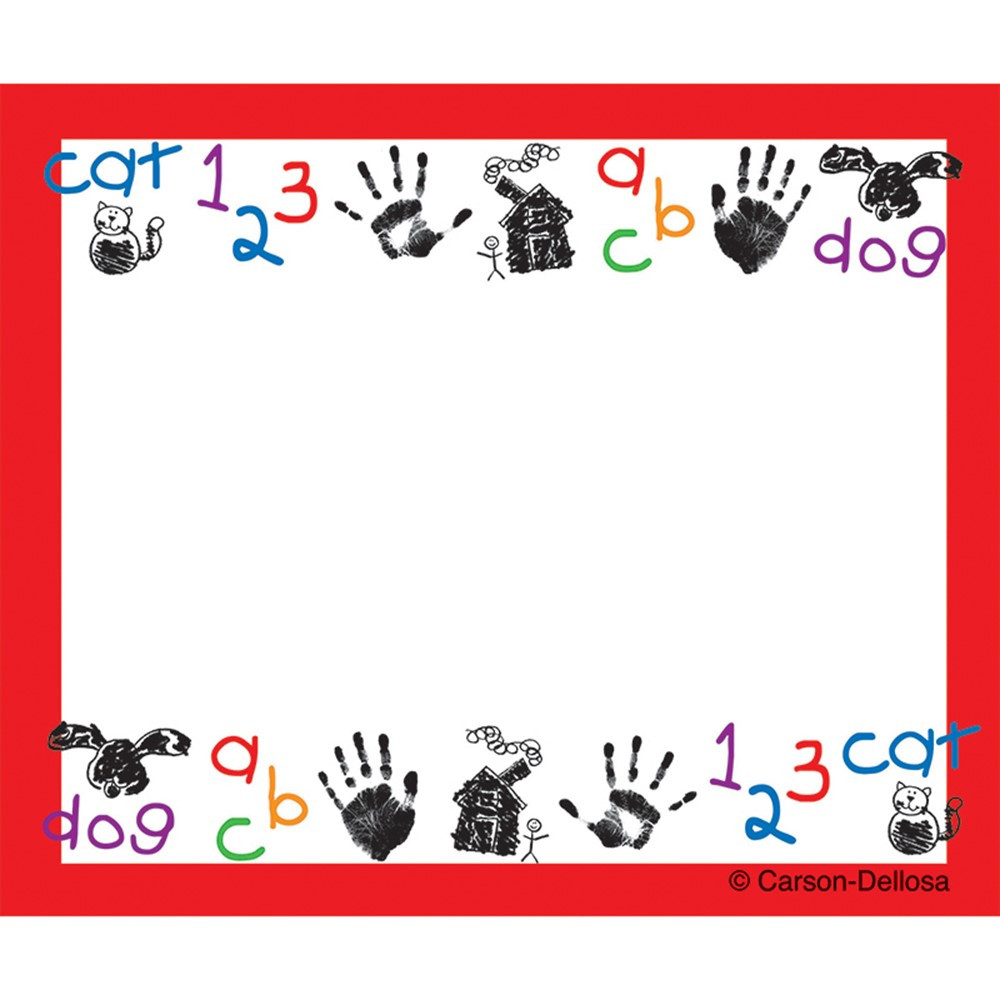 CD-9414 - Name Tags Kid-Drawn Art 40/Pk Self-Adhesive in Name Tags