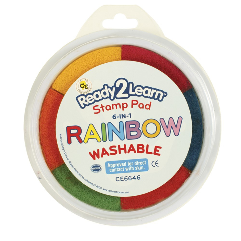 CE-6646 - Jumbo Circular Washable 6-In-1 Pads Rainbow Yel Red Org Blk Blu & Pnk in Paint