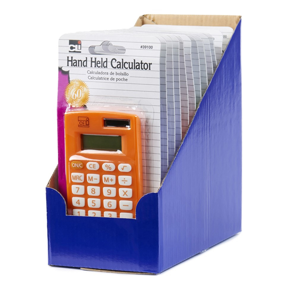 CHL39100ST - 12 Pack 8 Digit Handheld Calculator Assorted Colors in Calculators
