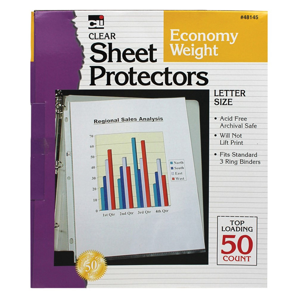 CHL48145 - Top Loading Sheet Protectors Clear in Sheet Protectors