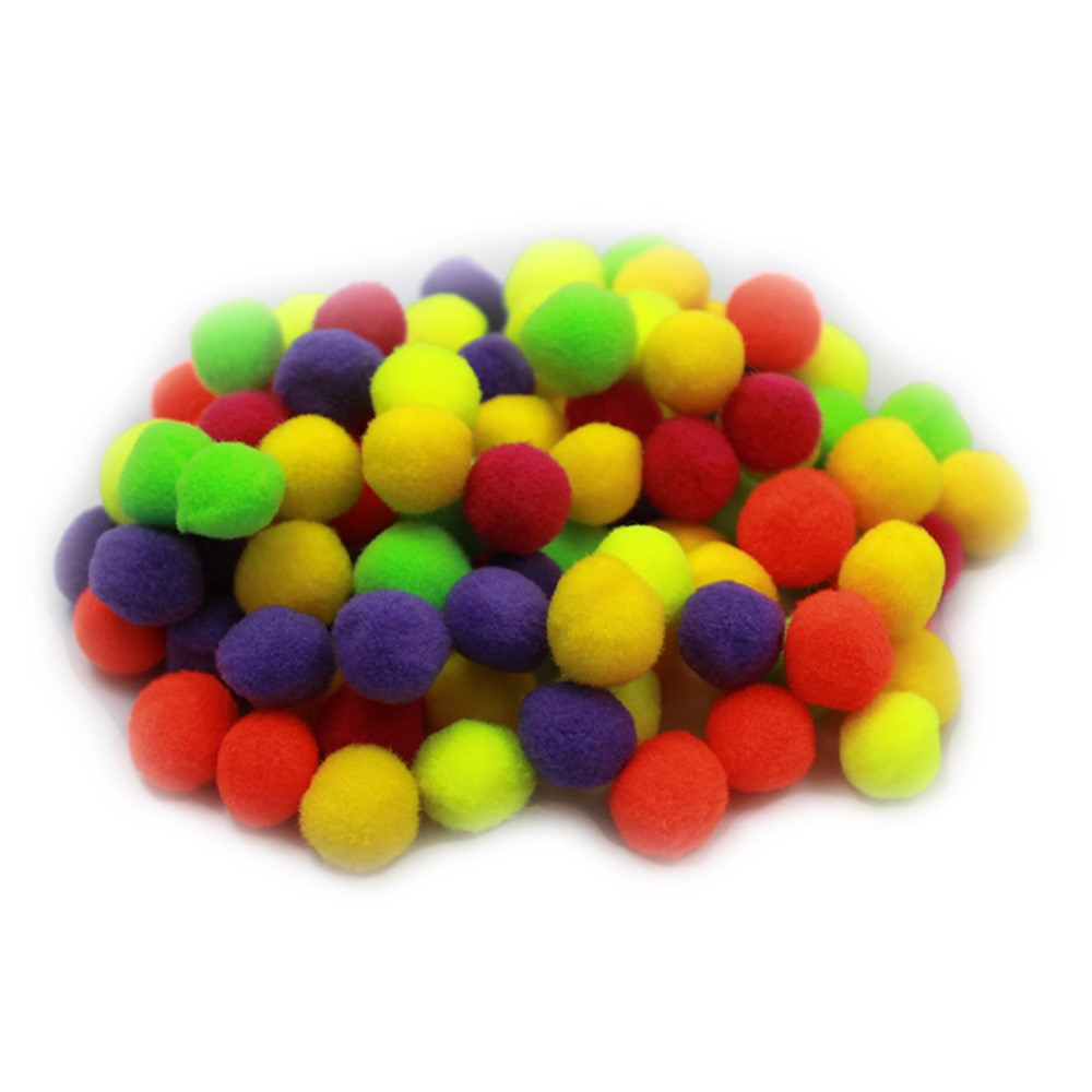 CHL69116 - Pom Poms .5In Hot Colors 100Ct in Craft Puffs
