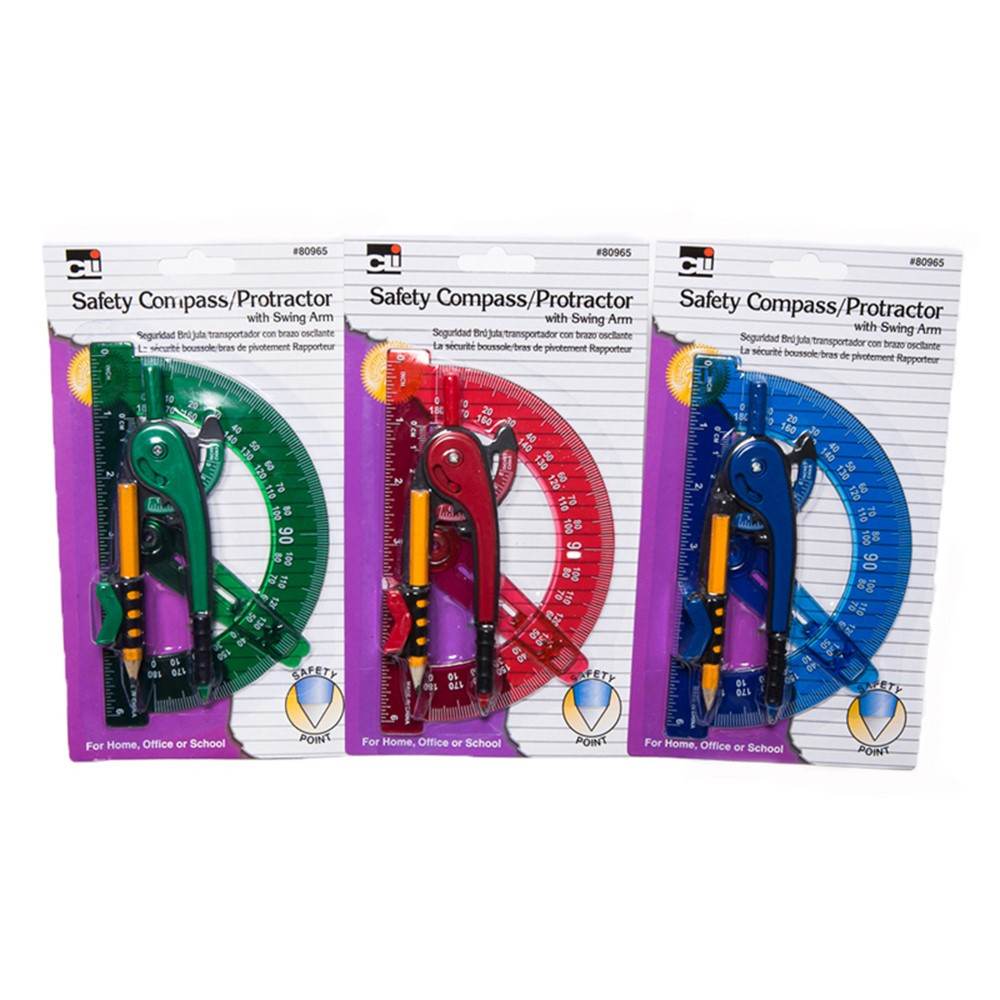 CHL80965ST - 12 Compass 6In Swing Arm Protractor Assorted Colors in Drawing Instruments