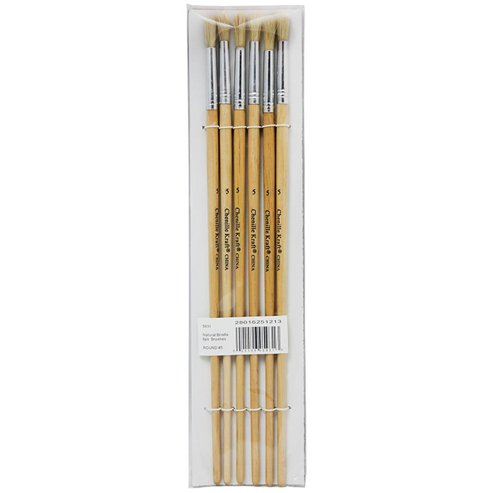 CK-5931 - Round White Bristle Brush 1/4 6-Set Size 5 in Paint Brushes