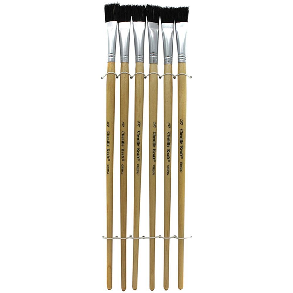 CK-5936 - Black Bristle Easel Brush 6-Set 1/2 W X 1 L in Paint Brushes