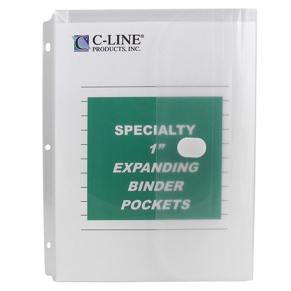 CLI33747 - Binder Pocket Velcro Closure 10Pk Specialty Binderpocket Clear in Folders