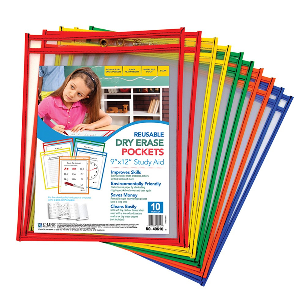 CLI40610 - C Line Reusable 10Pk 9X12 Dry Erase Pockets Assorted Primary in Dry Erase Sheets