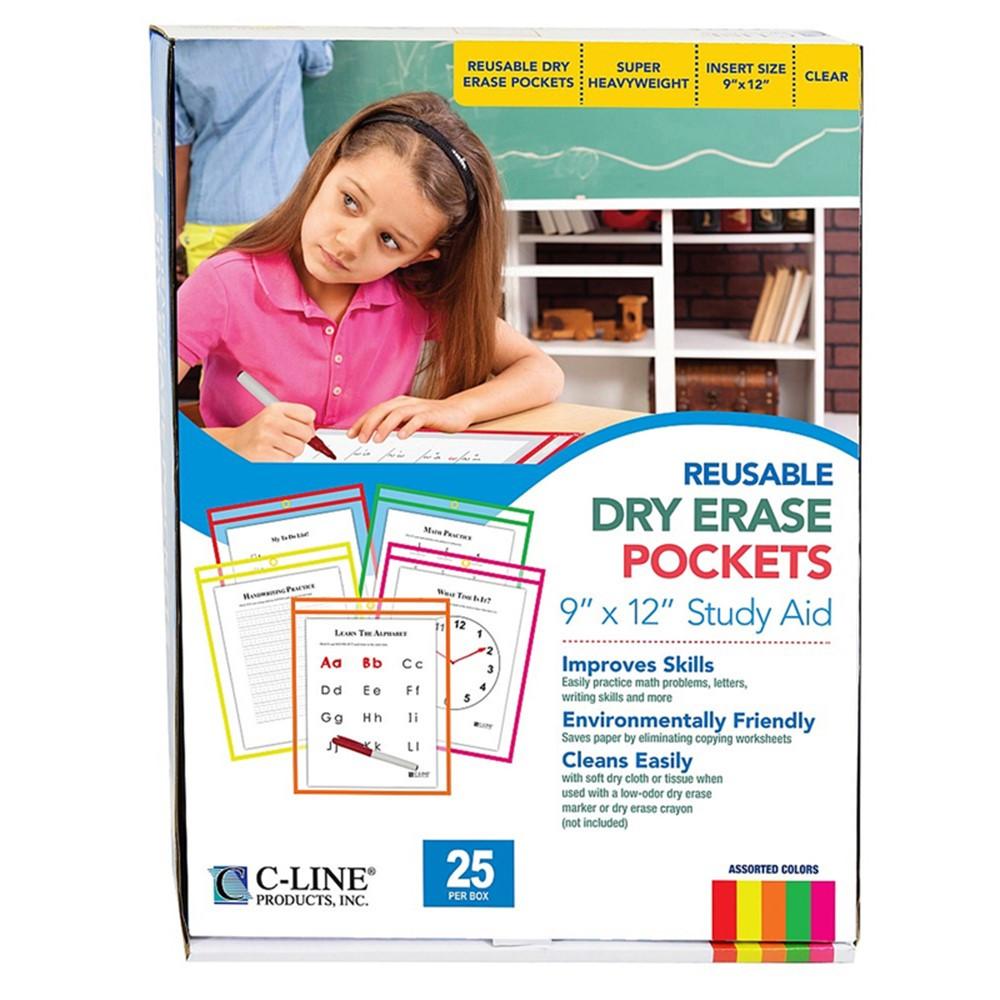CLI40820 - Reusable Dry Erase Pockets 25/Box in Dry Erase Boards