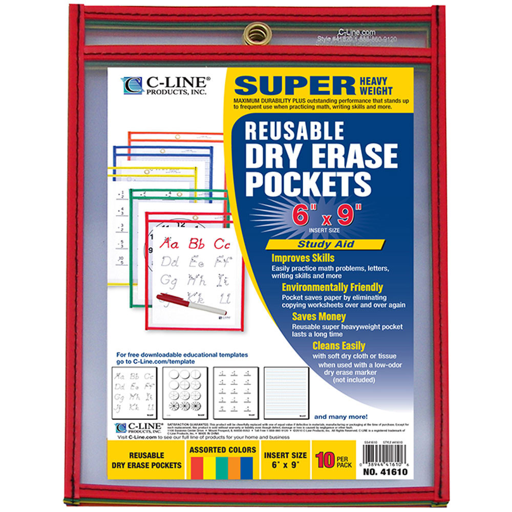 CLI41610 - C Line Reusable 10Pk 6X9 Dry Erase Pockets Assorted Primary in Dry Erase Sheets