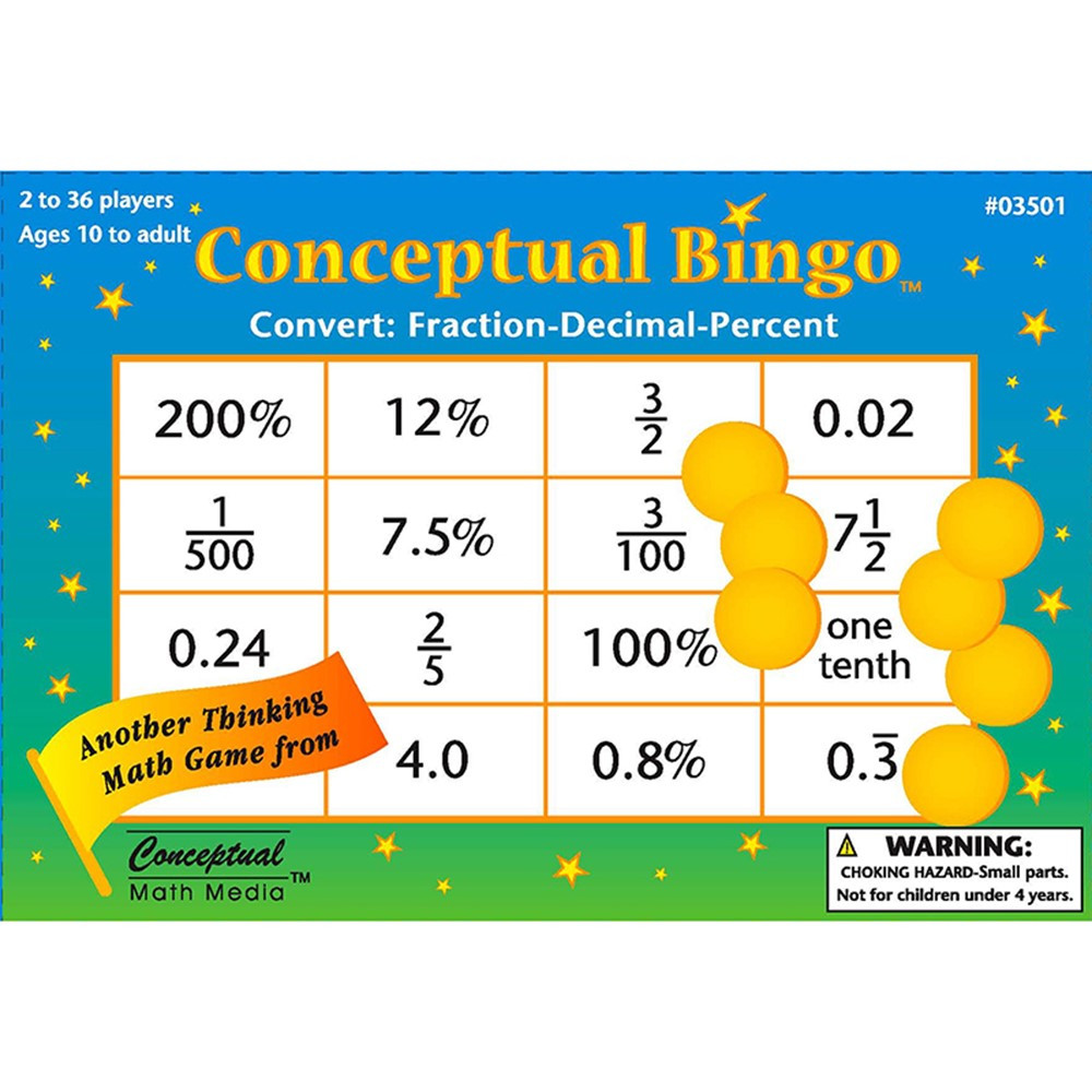 Conceptual Bingo Convert Fraction Decimal Percent