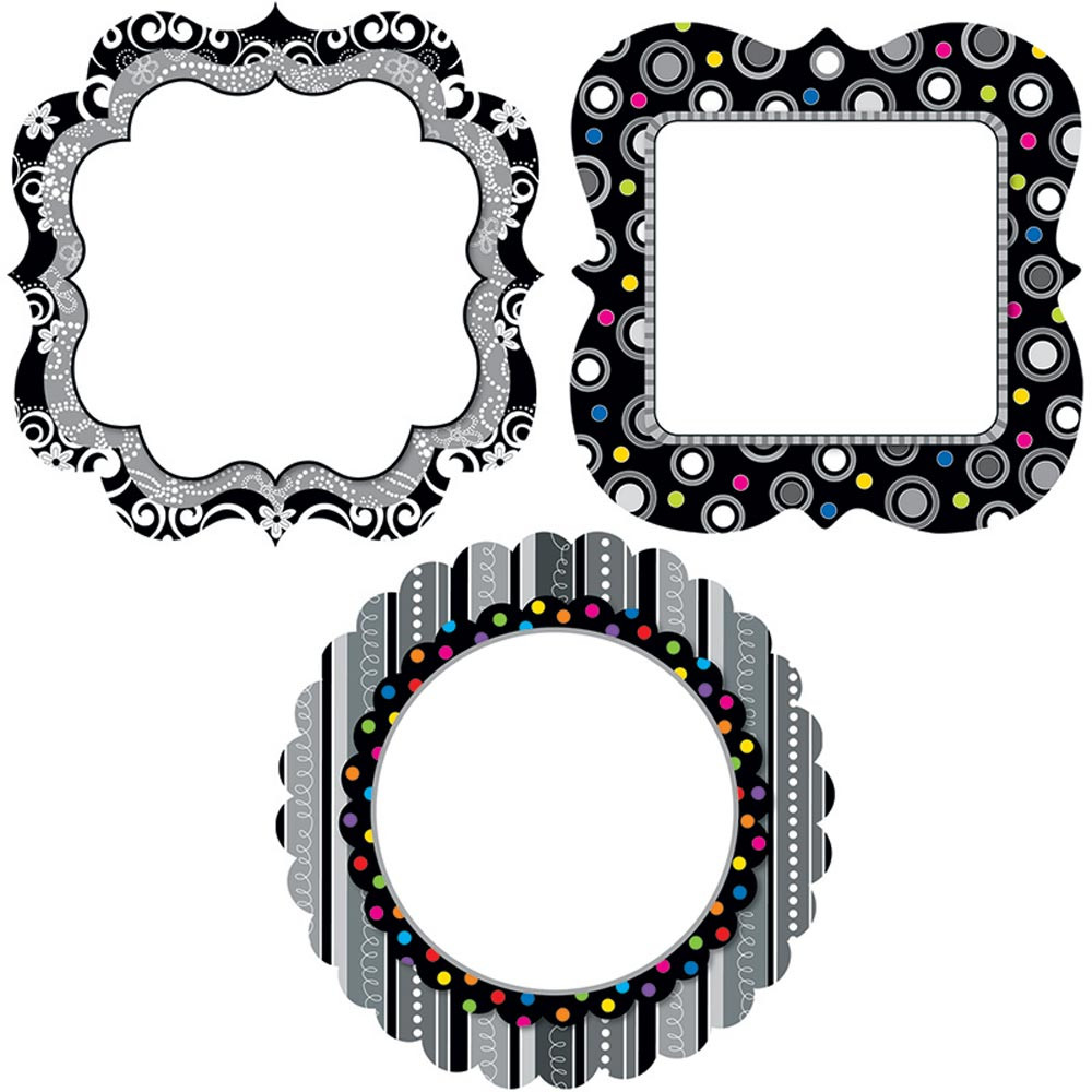 CTP0957 - Chart Cards Black And White 10In Designer Cut Outs in Accents