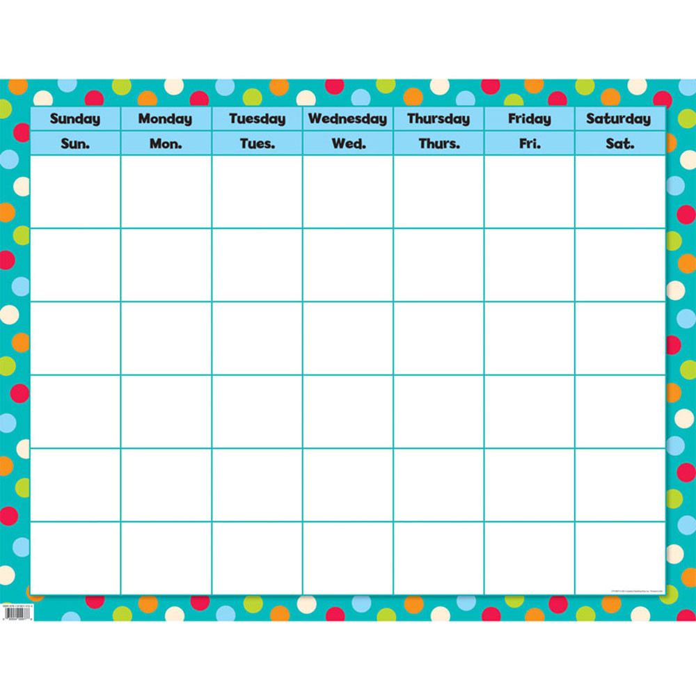 Calendar Poster For Classroom : Dots on turquoise calendar poster chart ctp