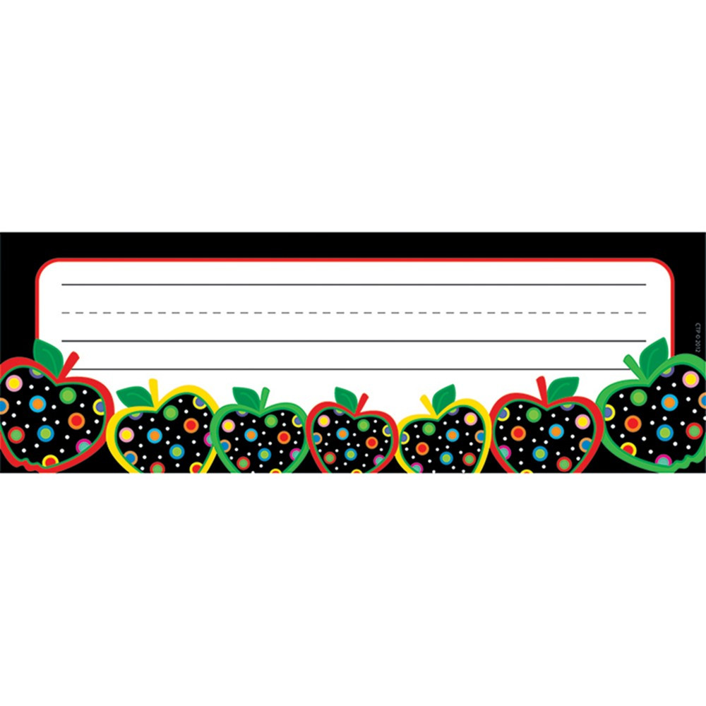 CTP2813 - Dots On Black Apples Name Plates in Name Plates