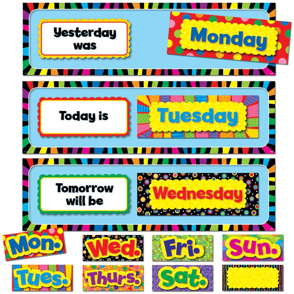 Free Classroom Decoration Templates ~ Poppin patterns days of the week mini bulletin board