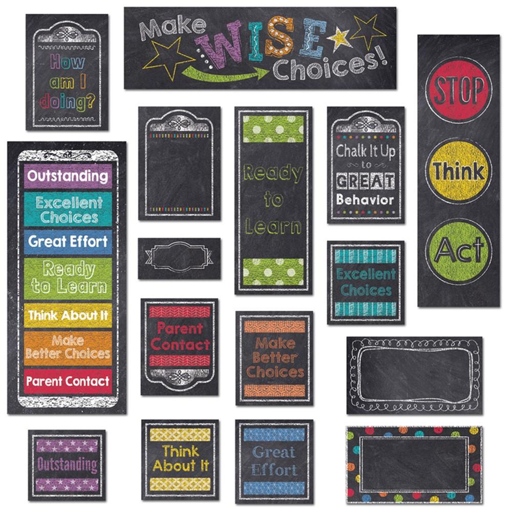 CTP6960 - Behavior Clip Chart Mini Bulletin Board Set Chalk in Motivational