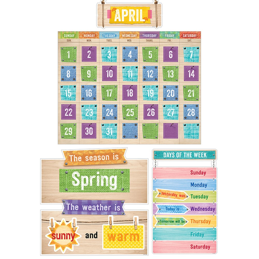 Classroom Calendar Bulletin Board Set : Upcycle style calendar set bulletin board ctp