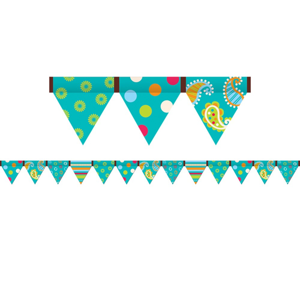CTP7144 - Dots On Turquoise Pennant Border in Border/trimmer