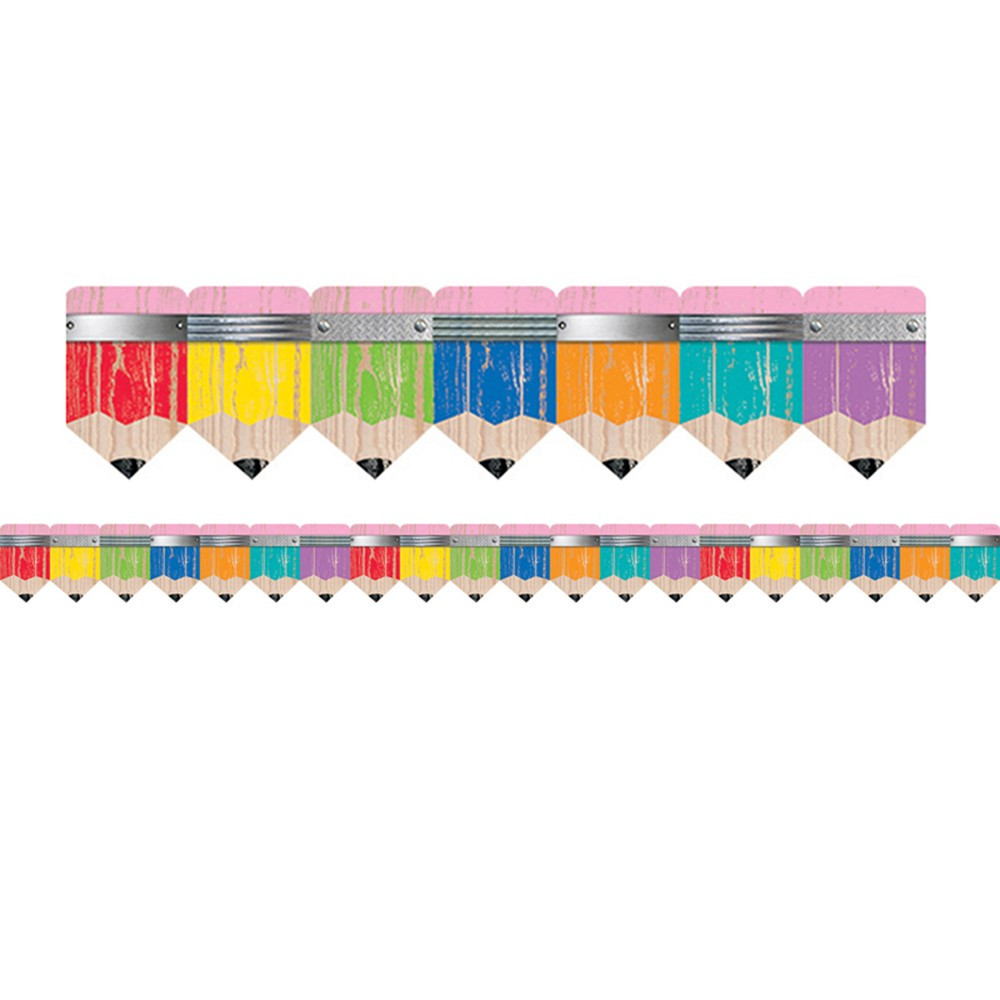 Creative Teaching Press Classroom Decorations ~ Upcycle style rustic pencils border ctp creative
