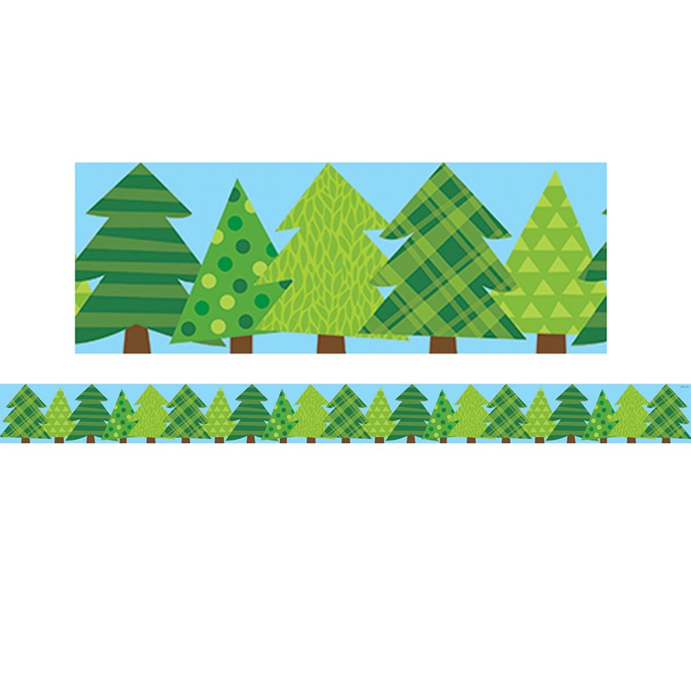 CTP8386 - Pine Trees Border No 3 Woodland Friends in Border/trimmer