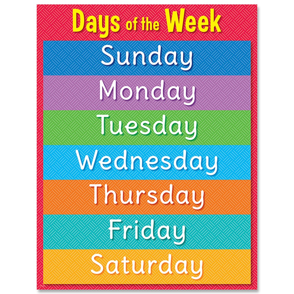 CTP8613 - Days Of The Week Chart in Classroom Theme