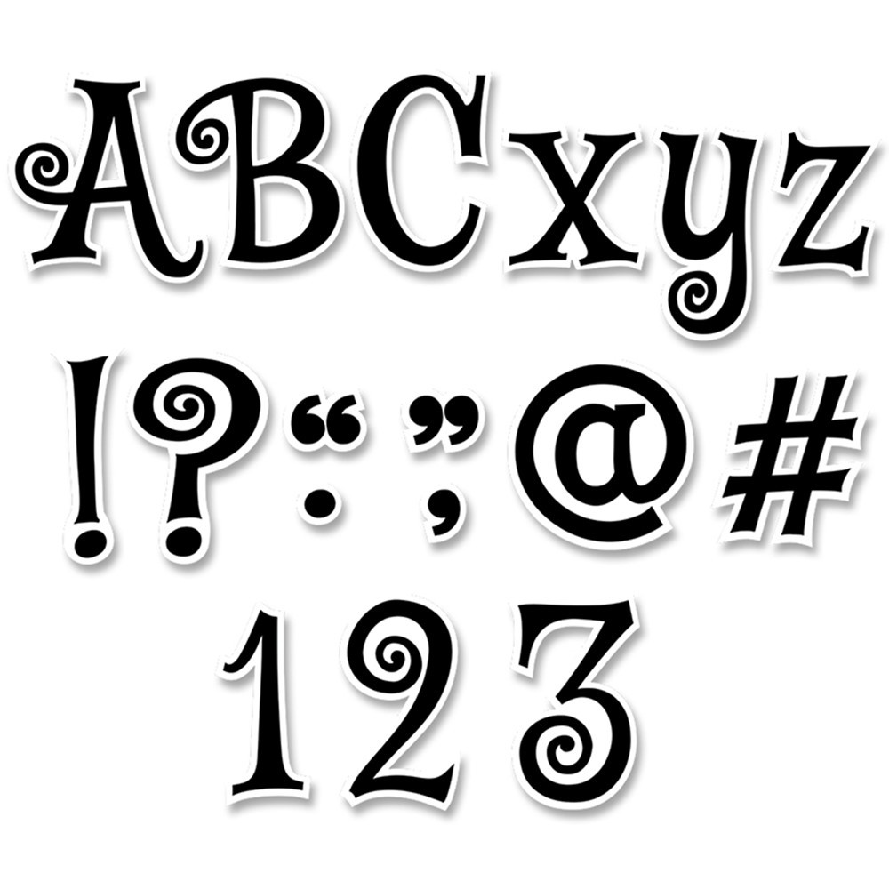 CTP8655 - Black Swirl 4In Designer Letters Mystical Magical in Letters